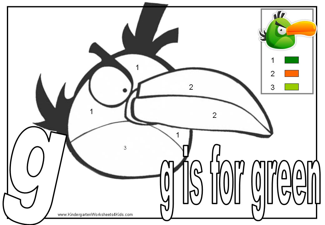 Angry Birds Colorbynumber on letter sounds worksheets preschool