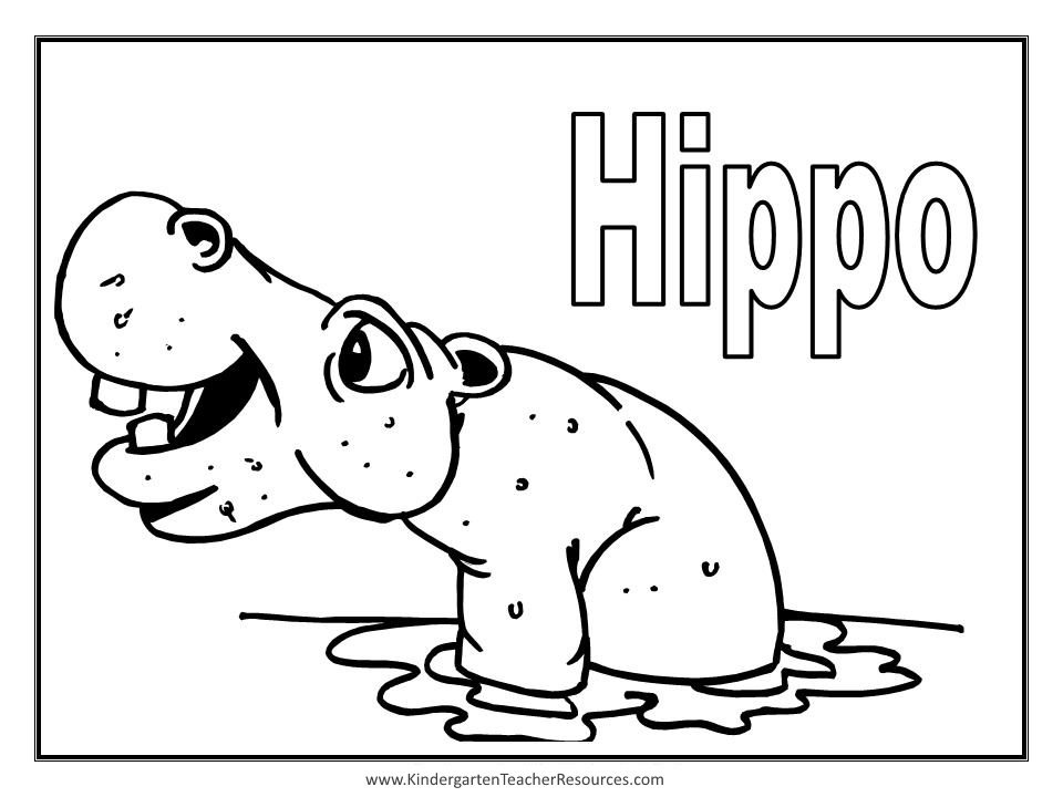h is for hippo coloring pages - photo #10