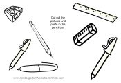 pictures of pens, pencils, eraser and equipment for school
