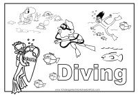 Diving Coloring Page
