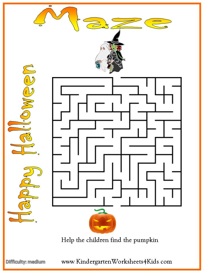 Halloween Maze Intermediate on kindergarten mazes