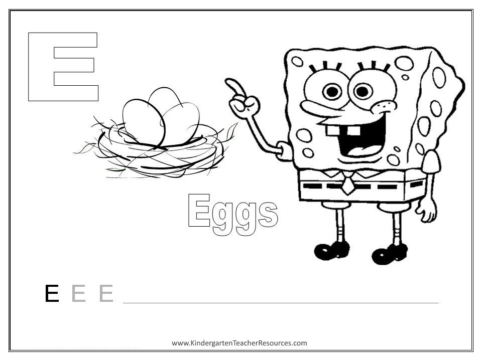 Spongebob Alphabet Worksheets Uppercase Letters. Alphabet Coloring Pages. Kindergarten. Letter Worksheet For Kindergarten At Clickcart.co