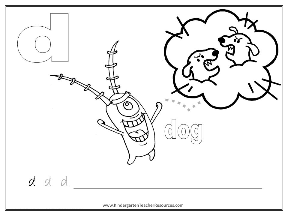 Alphabet Coloring Pages Letter D Worksheets