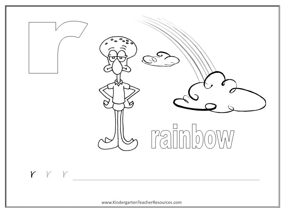 SpongeBob Alphabet Worksheets Lowercase Letters – Letter R Worksheets for Kindergarten