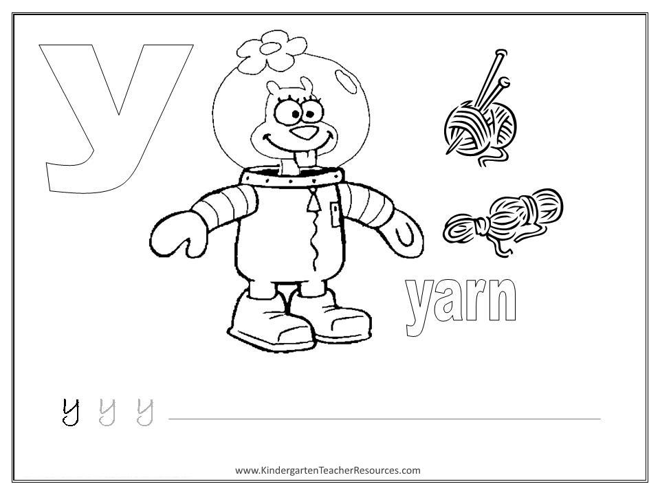 SpongeBob Alphabet Worksheets Lowercase Letters – Letter Y Worksheets for Kindergarten