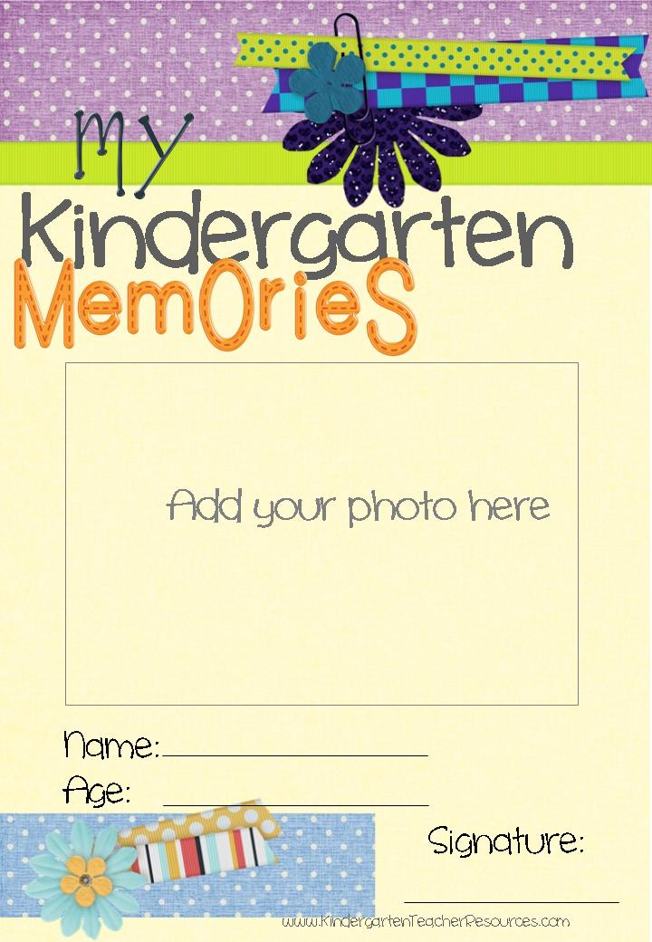 Memory Book Cover Printable : Kindergarten memory book