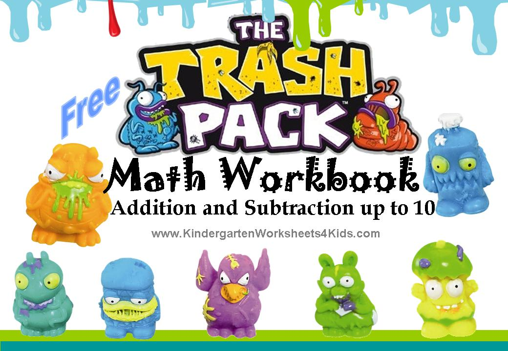 subtraction math worksheets with the Trash Pack. Add them, subtract ...