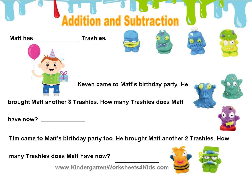 The Trash Pack Worksheets – Picture Math Worksheets