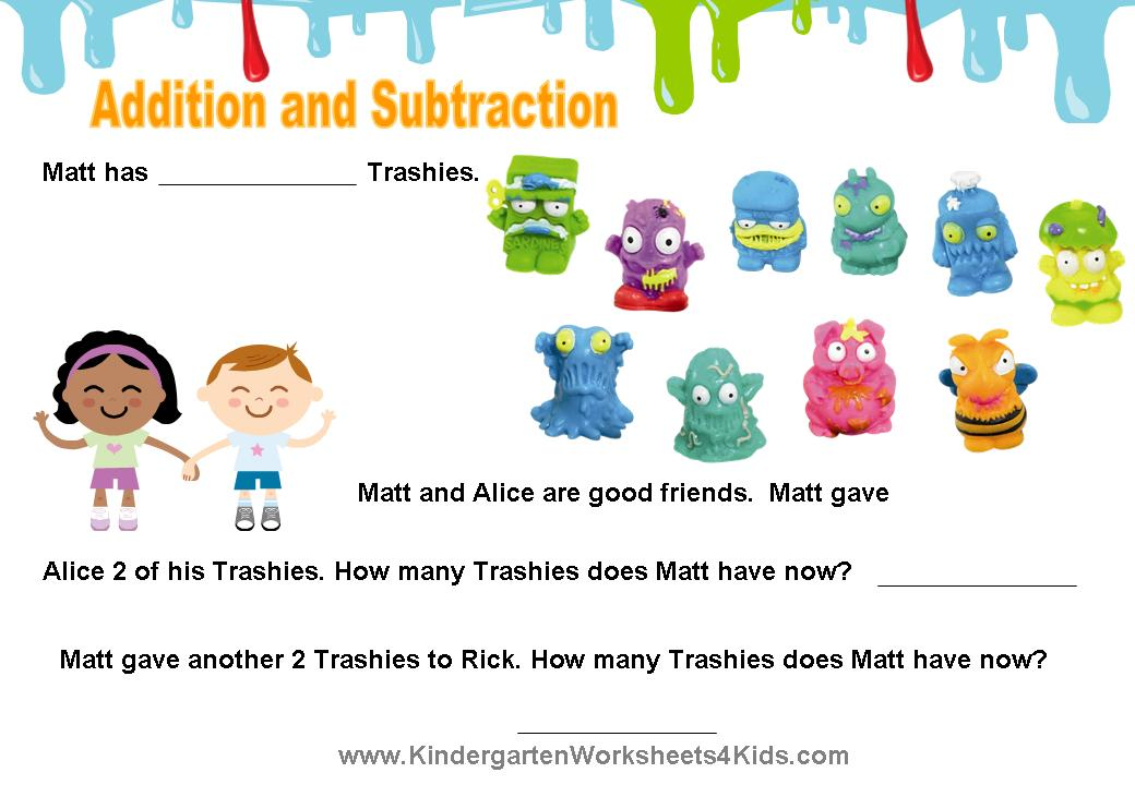 math worksheet : the trash pack worksheets : Math Worksheets For Kindergarten Addition And Subtraction