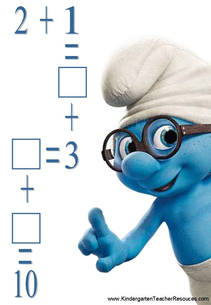 Smurf Addition Worksheets