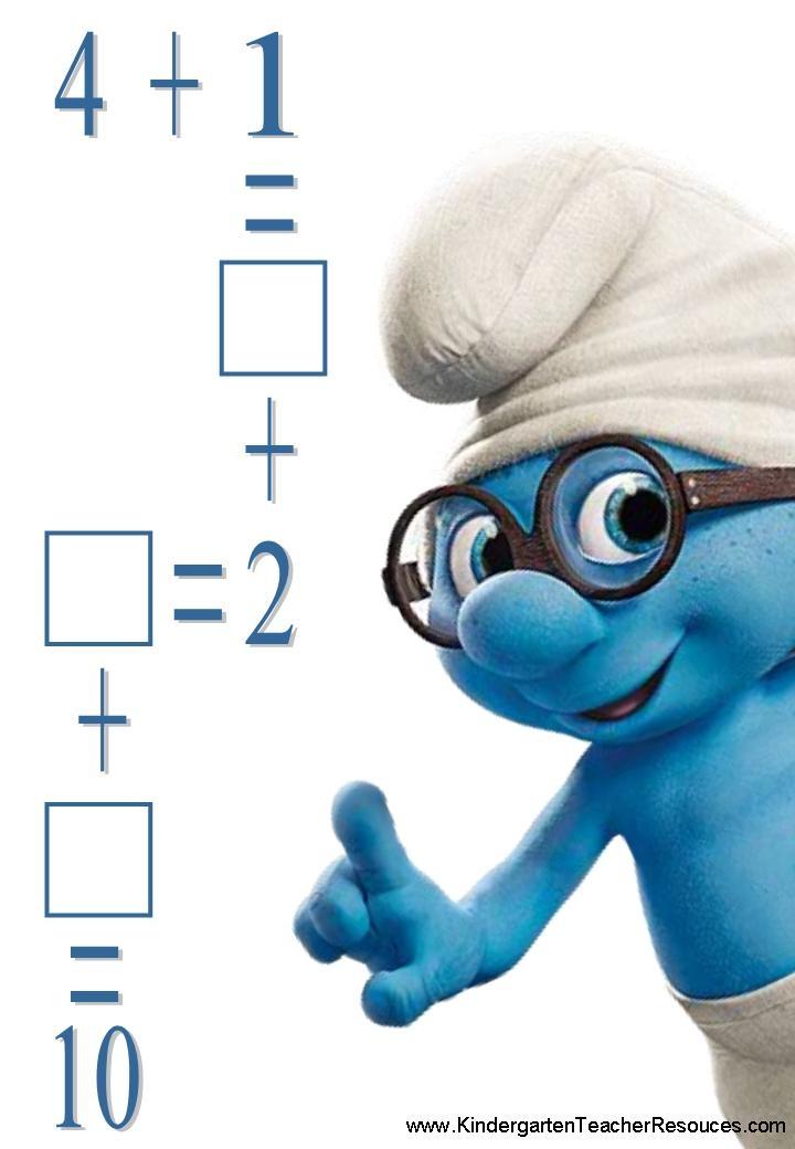 Smurf Addition Worksheets
