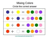 Kindergarten Worksheets – Mixing Colors