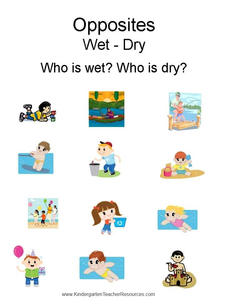 Kindergarten Worksheets Opposites Wet dry – Opposites Kindergarten Worksheets
