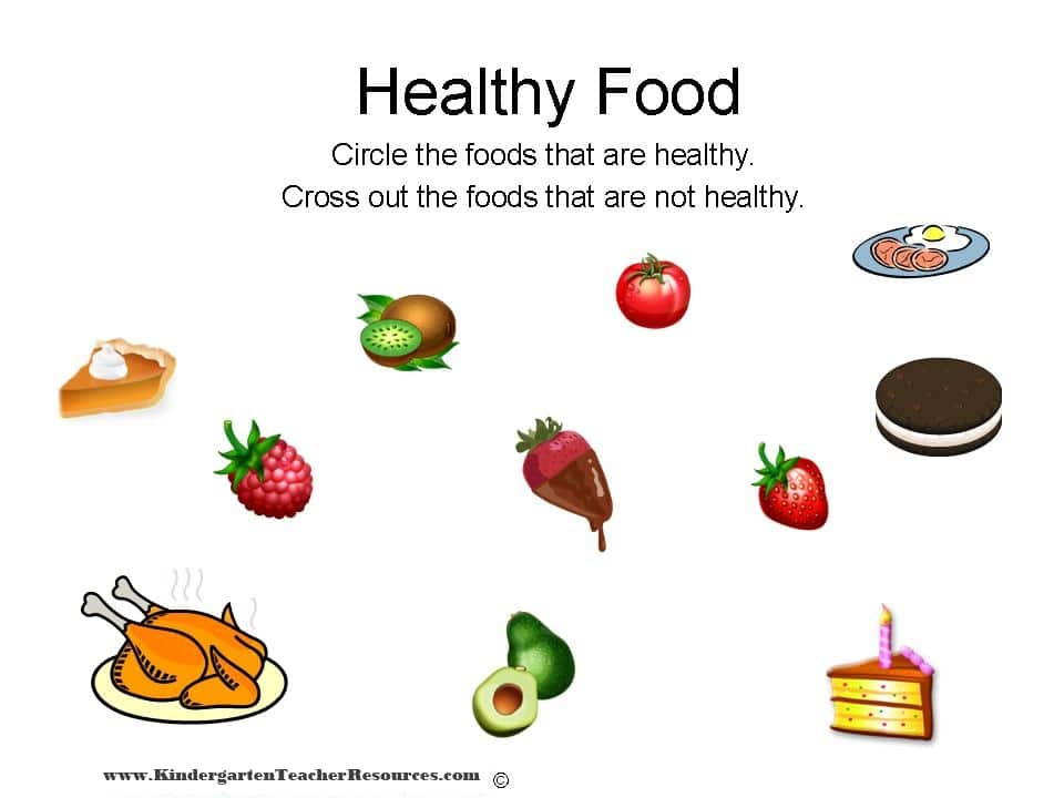 Healthy Food Kindergarten Worksheets