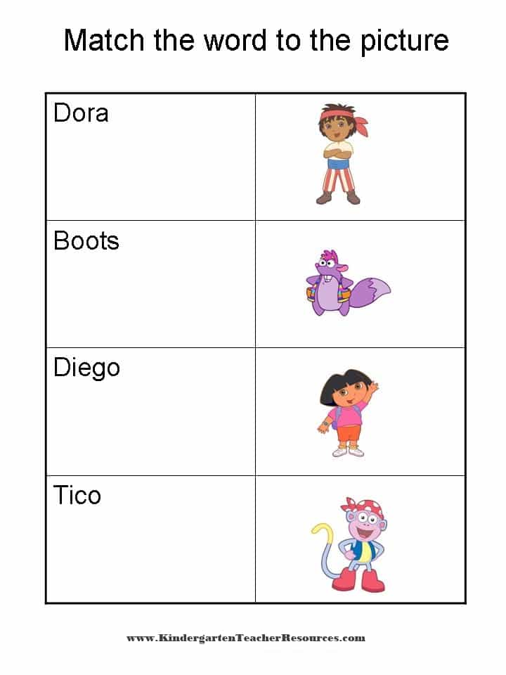 Dora the Explorer Worksheets and