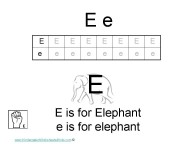 Kindergarten worksheets- letter E