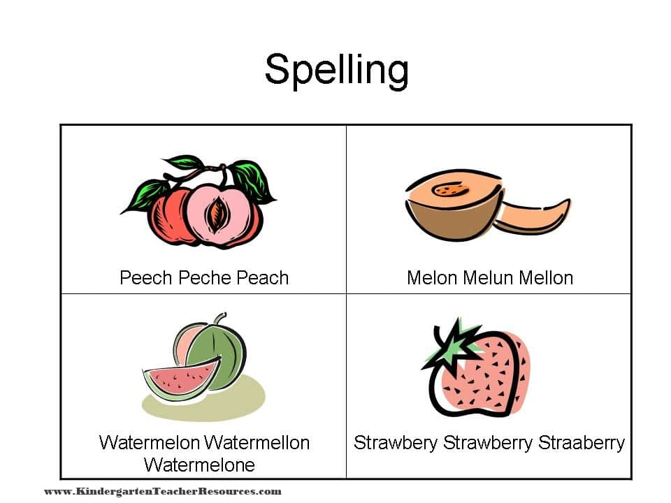 Spelling Worksheets with Fruit