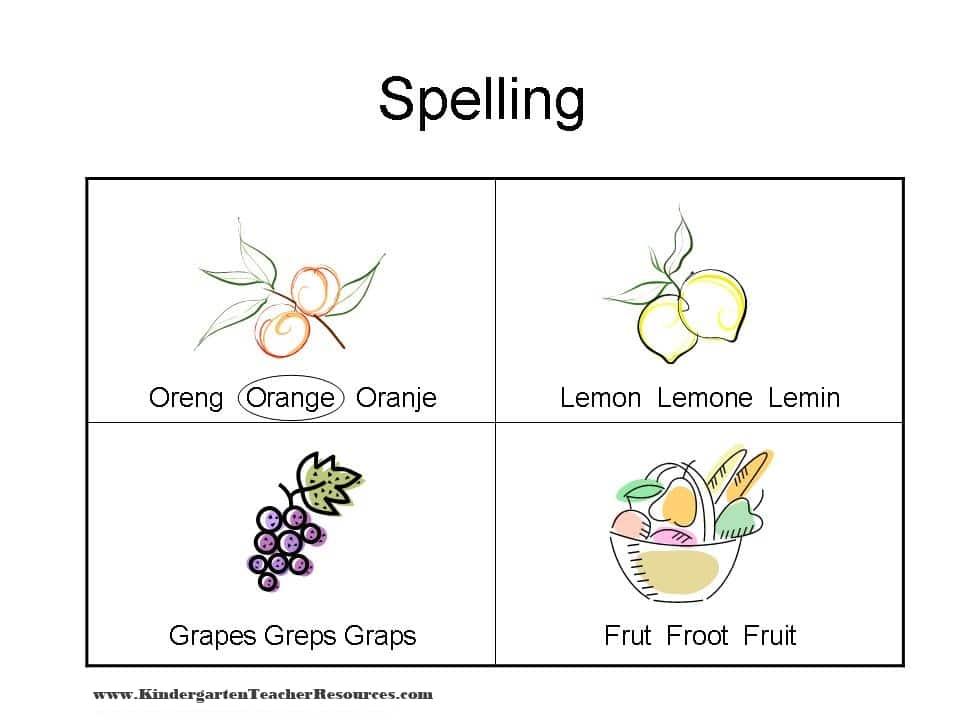 Spelling Worksheets with Fruit – Spelling Worksheets Kindergarten