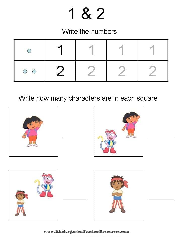 Dora the Explorer Number Worksheets – Number 2 Worksheets for Kindergarten