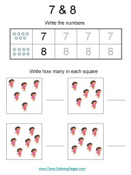 Number worksheets - number 7 and 8