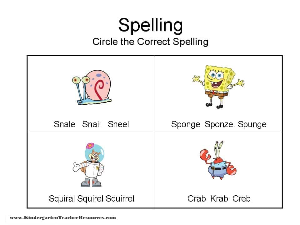 SpongeBob Spelling Worksheets