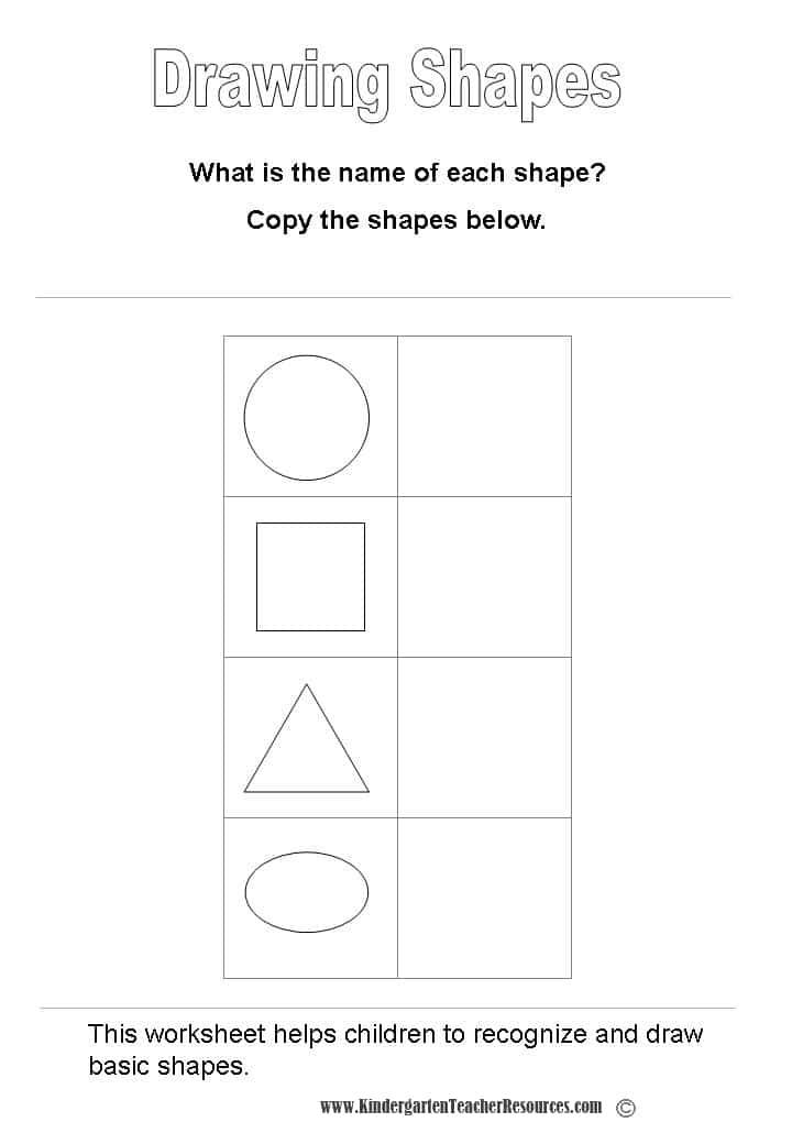 math worksheet : basic shapes worksheets : Kindergarten Drawing Worksheets