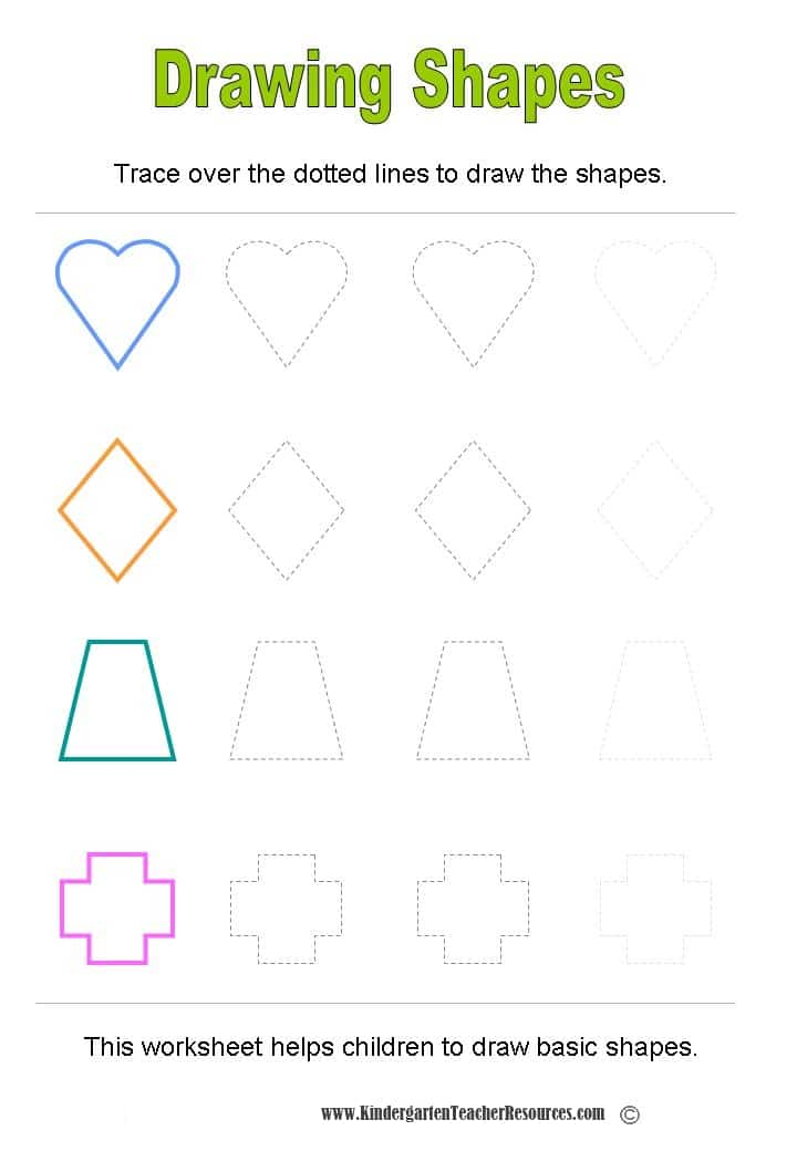 Scribble Drawing Objects : Shape worksheets