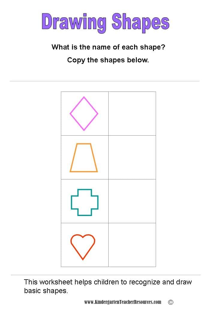 Shape Worksheets. Read The Name Of Each Shape And Then Draw Shapes. Kindergarten. Printable Shapes For Kindergarten At Clickcart.co