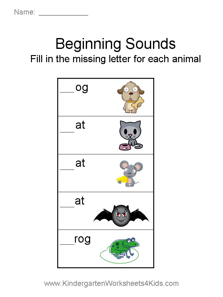 Beginning Sounds Worksheets Animals