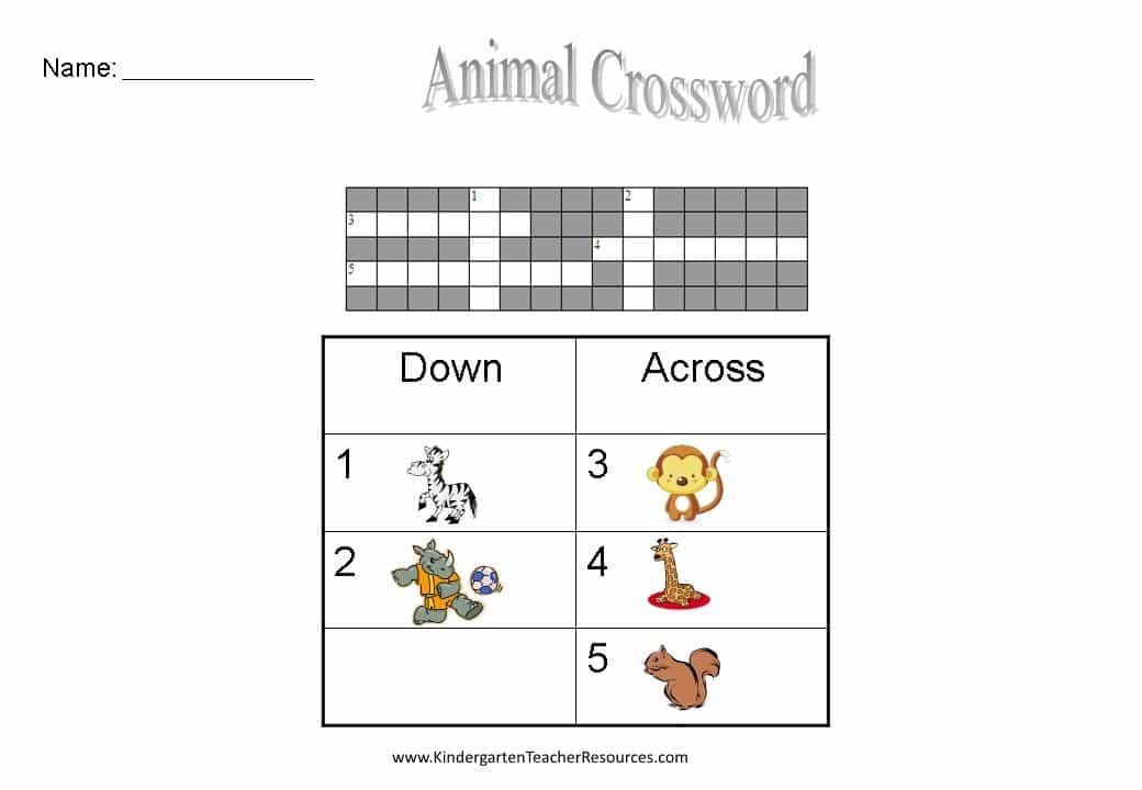 Printable Crosswords For Kids