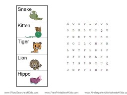 math worksheet : animal word searches : Word Search Worksheets For Kindergarten