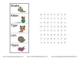 word search for kindergarten
