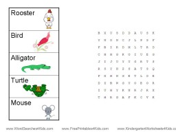 kindergarten word search