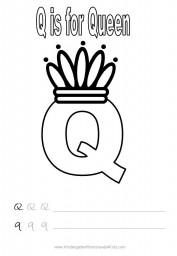 Alphabet worksheet - letter Q