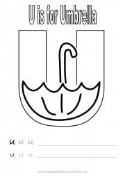 Alphabet worksheet - letter U