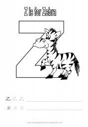 Alphabet worksheet - letter Z