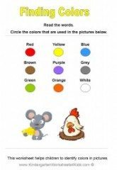 Identifying Colors Worksheets