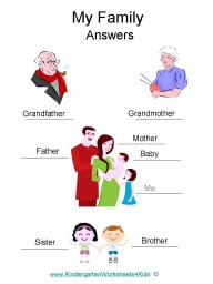 Kindergarten worksheets about family