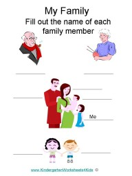 Kindergarten worksheet about family