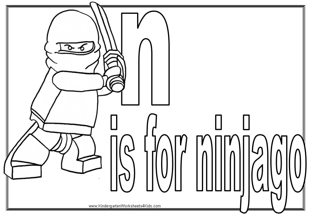 Letter N Coloring Pictures Alphabet Pages With Ninjago