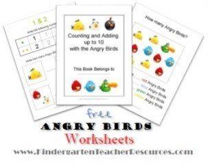 Angry Birds Math Worksheets for Kindergarten