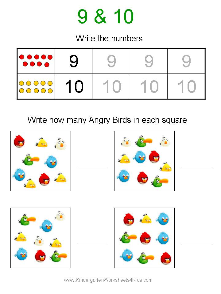 Free Angry Birds Math Worksheets for Kindergarten – Kindergarten Worksheets Numbers