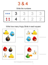 Angry Birds Number Worksheet
