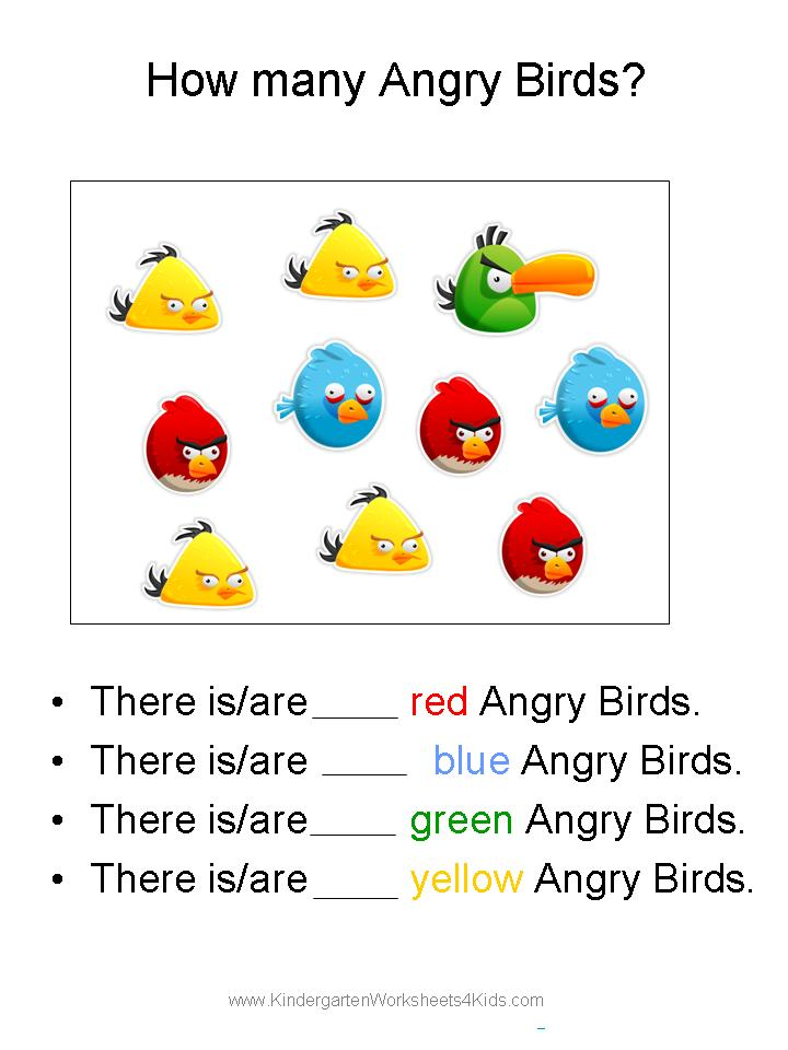 Free Angry Birds Math Worksheets for Kindergarten – Maths for 5 Year Olds Worksheets