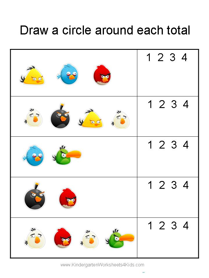 Free Angry Birds Math Worksheets for Kindergarten – Math Worksheets for Kindergarten Counting