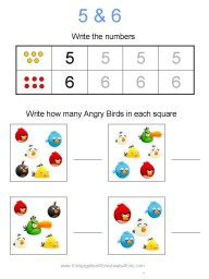 Angry Birds Number Worksheets