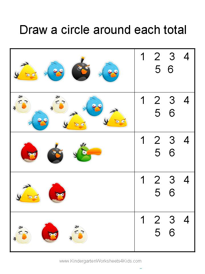 Free Angry Birds Math Worksheets For Kindergarten. Kindergarten. Worksheet Kindergarten Printable At Mspartners.co