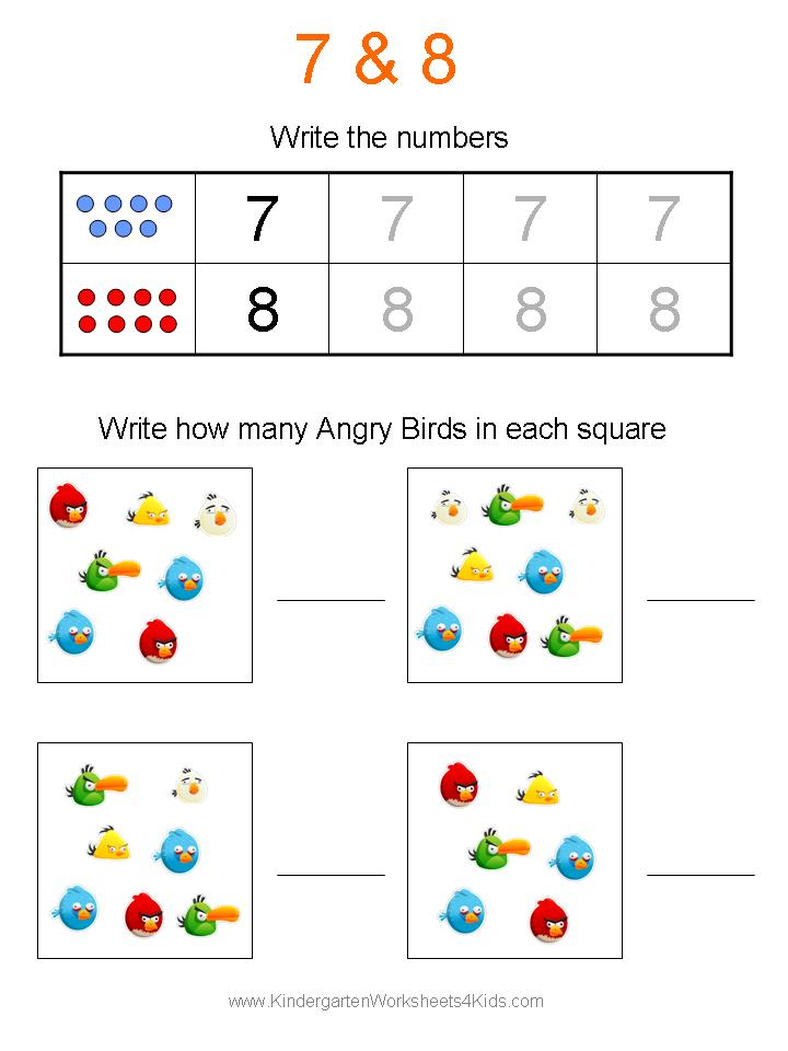 Free Angry Birds Math Worksheets for Kindergarten – Number 8 Worksheets