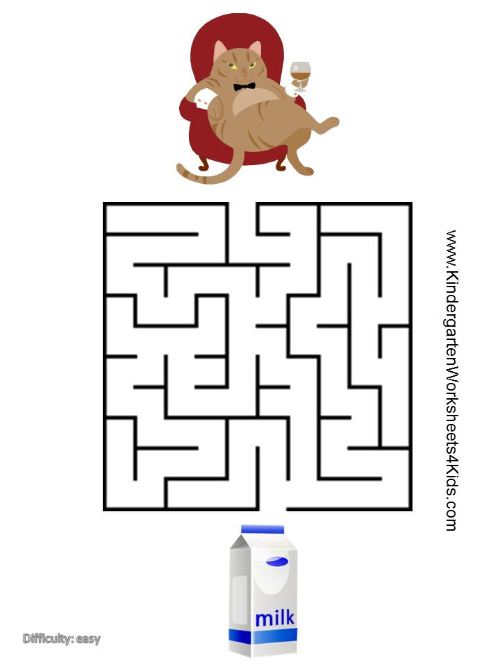 Cat Mazes For Kids on kindergarten math worksheets can go