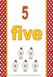 number 5 flashcard